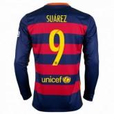 Maillot Barcelone Manche Longue Suarez Domicile 2015 2016