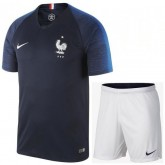 2018 2019 Ensemble Foot Enfant Equipe de France Maillot Short Coupe Du Monde Domicile