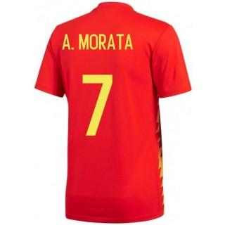 2018 2019 Homme Maillot de Foot Espagne MORATA Coupe du Monde Domicile