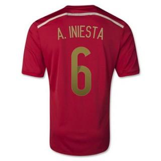 Maillot Espagne Iniesta Domicile 2014 2015